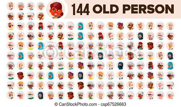 multinational, ensemble, vieux gens, mâle âgé, female., asiatique, ethnic., vector., européen, plat, illustration, portrait., utilisateur, arab., multi, figure, personne, africaine, avatar, icon., racial., emotions. - csp67526663