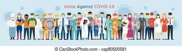 multinational, gens, groupe, figure, masque portant - csp80500581