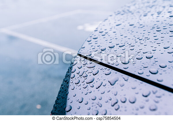 Multiple water drops on car new metallic paint - csp75854504