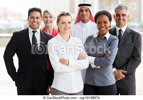 multiracial business team in office - csp19198974