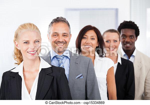 multiracial, businesspeople, feliz - csp15334869