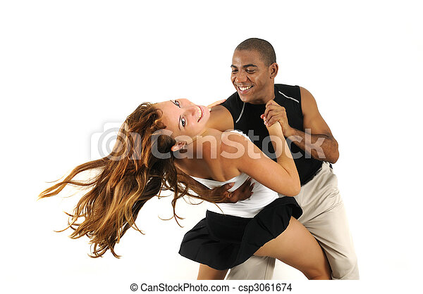 Multiracial couple dancing isolated - csp3061674