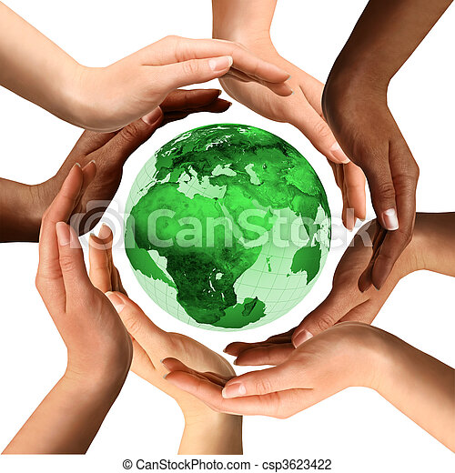 multiracial, globo terra, ao redor, mãos - csp3623422