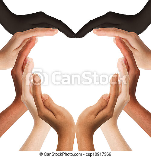 multiracial human hands making a heart shape on white background with a copy space in the middle  - csp10917366