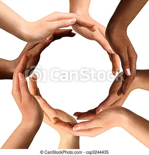 multiracial, vervaardiging, cirkel, handen - csp3244435