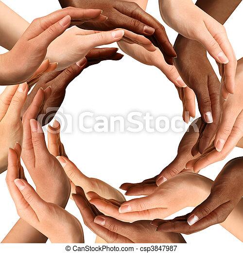 Mehrere Hände, die einen Kreis bilden - csp3847987