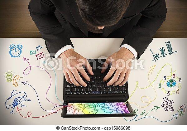 multitâche, homme affaires - csp15986098