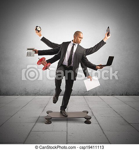 multitasking, biznesmen - csp19411113