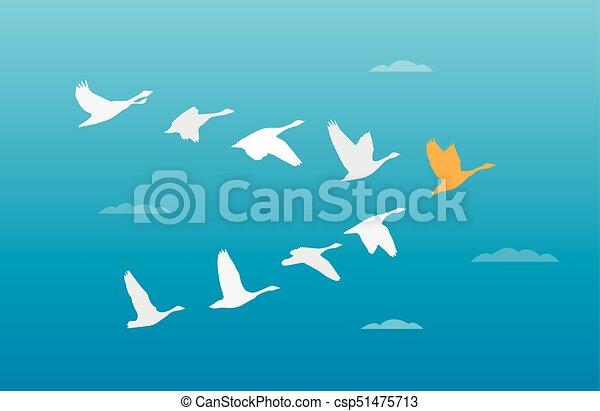 Flock del concepto de liderazgo de los pájaros - csp51475713
