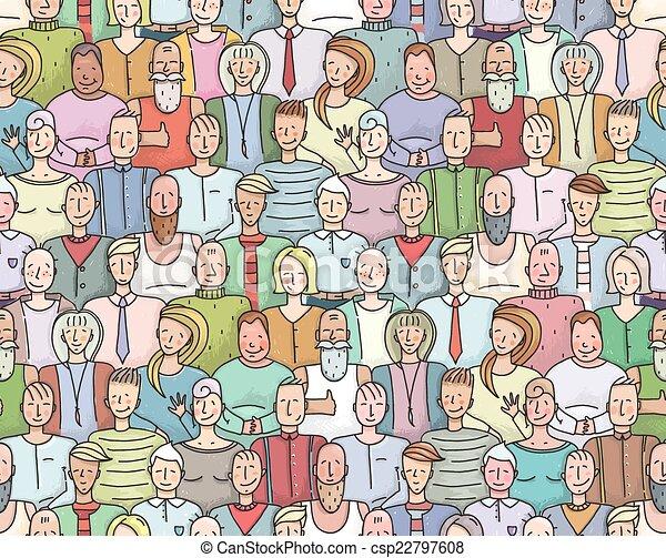 La gente sonriente llena de retratos colectivos sin marcas - csp22797608