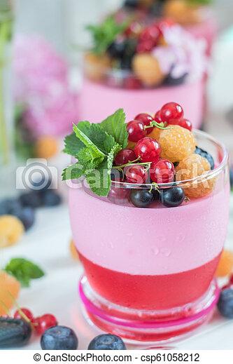 Multivitamin summer berry delicious panacotta. - csp61058212