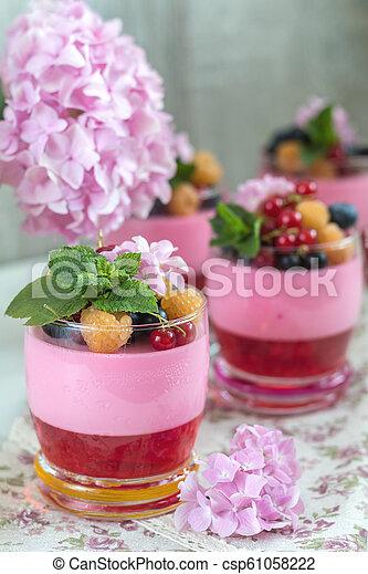 Multivitamin summer berry delicious panacotta. - csp61058222