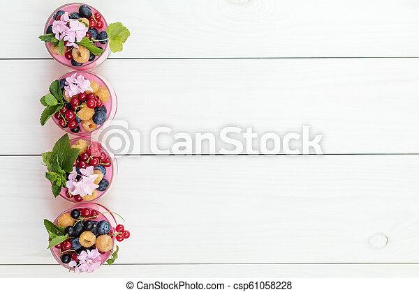 Multivitamin summer berry delicious panacotta. - csp61058228