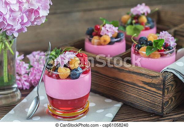 Multivitamin summer berry delicious panacotta. - csp61058240