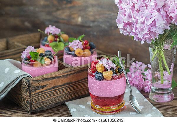 Multivitamin summer berry delicious panacotta. - csp61058243