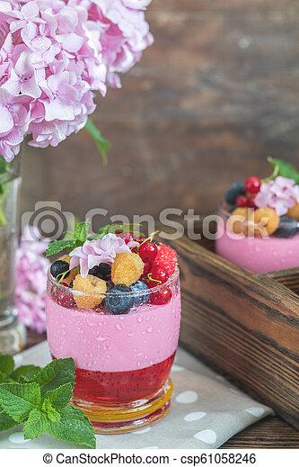 Multivitamin summer berry delicious panacotta. - csp61058246