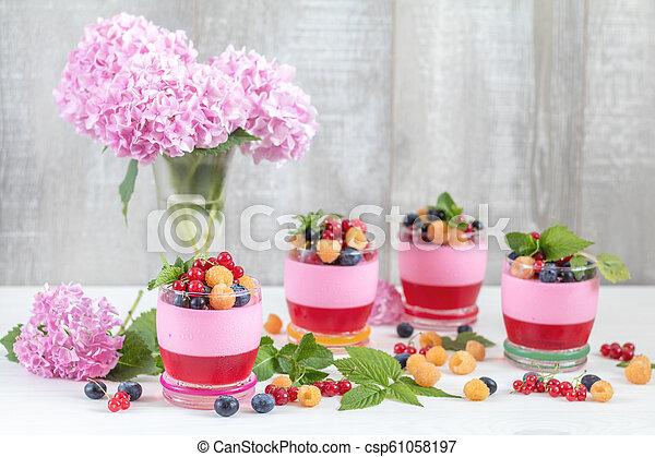 Multivitamin summer berry delicious panacotta. - csp61058197