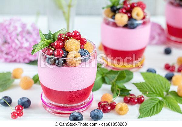 Multivitamin summer berry delicious panacotta. - csp61058200