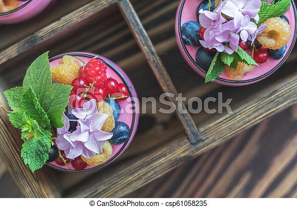 Multivitamin summer berry delicious panacotta. - csp61058235