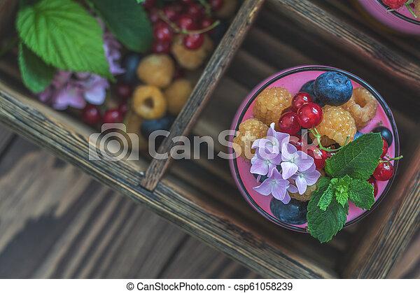 Multivitamin summer berry delicious panacotta. - csp61058239
