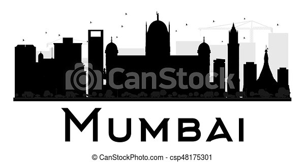 mumbai city skyline black and white silhouette vector vector rh canstockphoto com cityscape vector art cityscape vector free