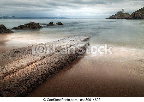 Mumbles Beach and Lighthouse - csp50014623