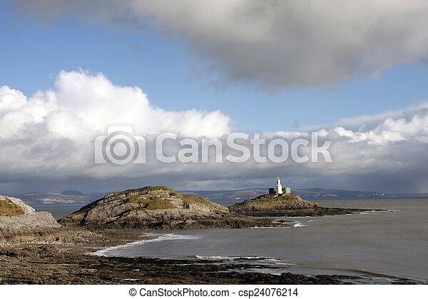 Mumbles lighthouse and Bracelet Bay - csp24076214
