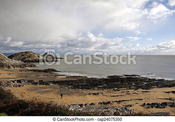 Mumbles lighthouse and Bracelet Bay - csp24075350