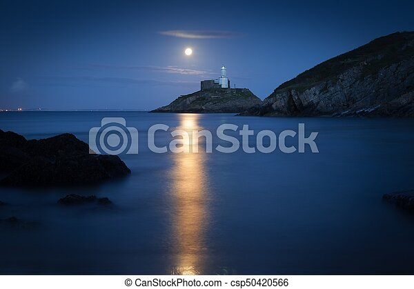 Mumbles Lighthouse at dusk - csp50420566