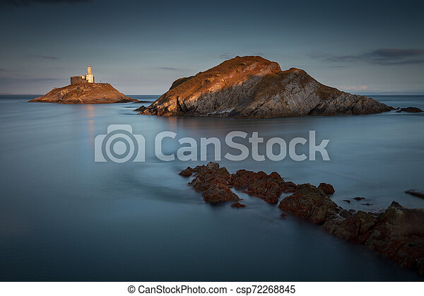 Mumbles Lighthouse at dusk - csp72268845