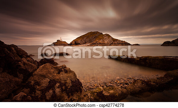 Mumbles lighthouse Swansea Bay - csp42774278