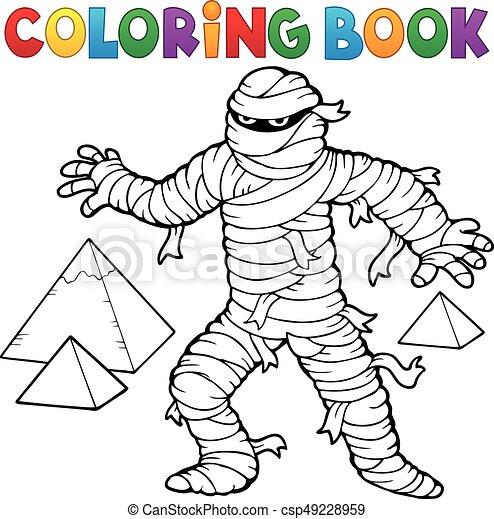 mummia, coloritura, antico, libro - csp49228959