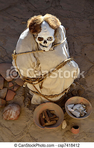 Mummy at Chauchilla Cemetery - Nazca Peru - csp7418412