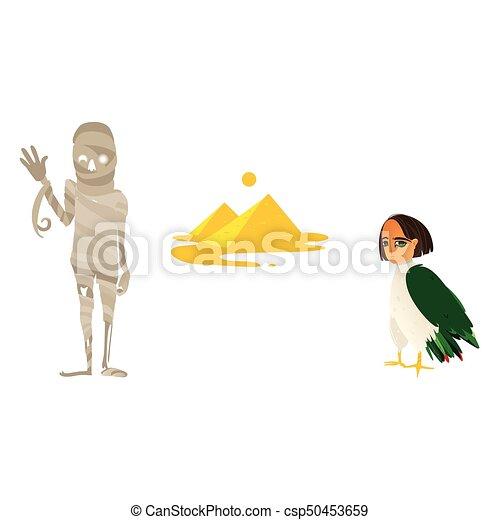 Mummy Great Pyramids And Harpy Symbols Of Egypt Mummy Clipart