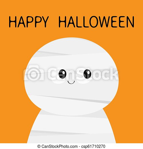 Mummy monster. Happy Halloween. Cute cartoon funny spooky baby character. Mum head face. Greeting card. Flat design. Orange background. Isolated. - csp61710270