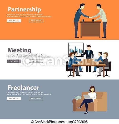 Colaboración en el libre espacio de trabajo en todo el mundo y trabajos remotos icono decorativo de color plano establecen ilustración vectorial aislada - csp37202696