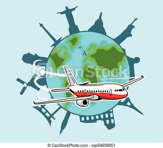 Avión Volando Alrededor Del Mundo Ilustración De Vectores De Aviones Volando Alrededor Del Mundo Canstock