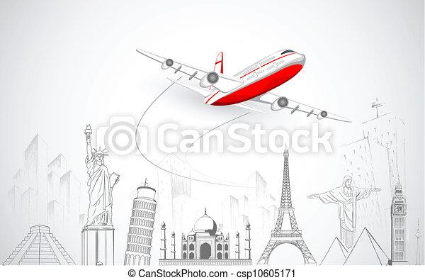 Avión volando sobre el mundo - csp10605171