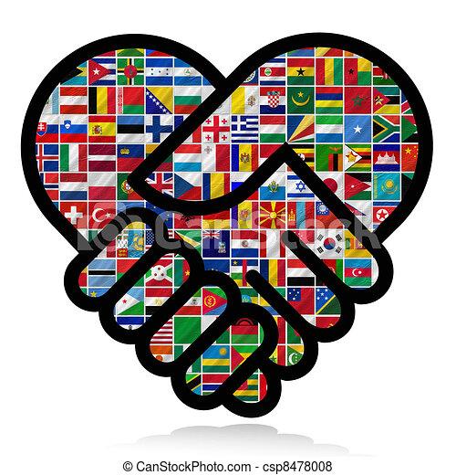 mundo, bandeiras, cooperação - csp8478008