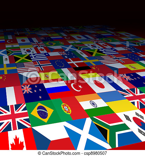 mundo, bandeiras, fundo - csp8980507