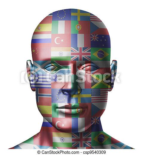mundo, bandeiras, rosto - csp9540309