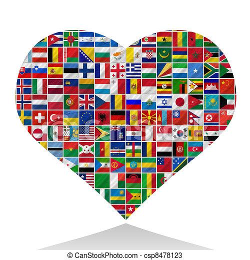 mundo, banderas, corazón - csp8478123