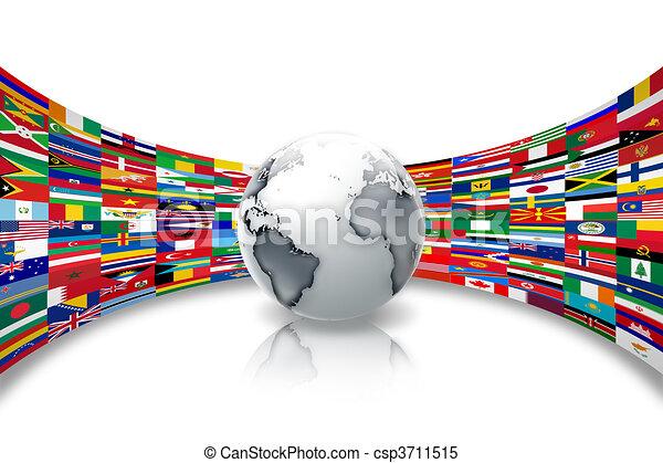 mundo, banderas - csp3711515