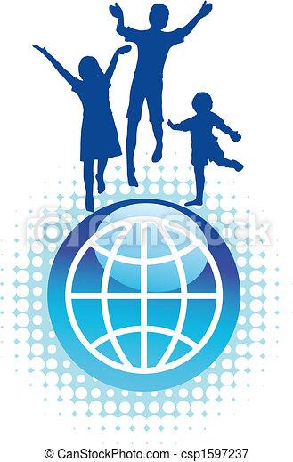 Niños saltando sobre el mundo - csp1597237
