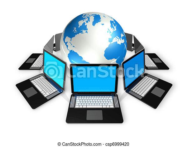 Computadoras portátiles alrededor de un mundo - csp6999420