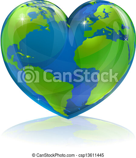 mundo, conceito, ame coração - csp13611445