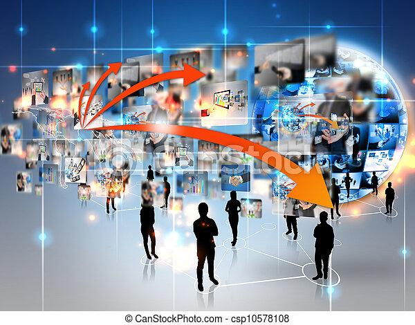 mundo, conectado, equipe negócio - csp10578108