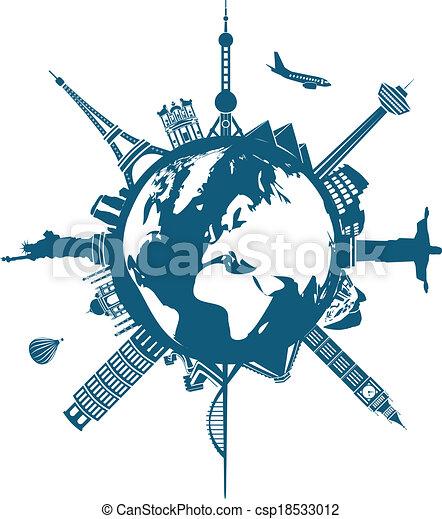 Edificios mundiales en la Tierra - csp18533012