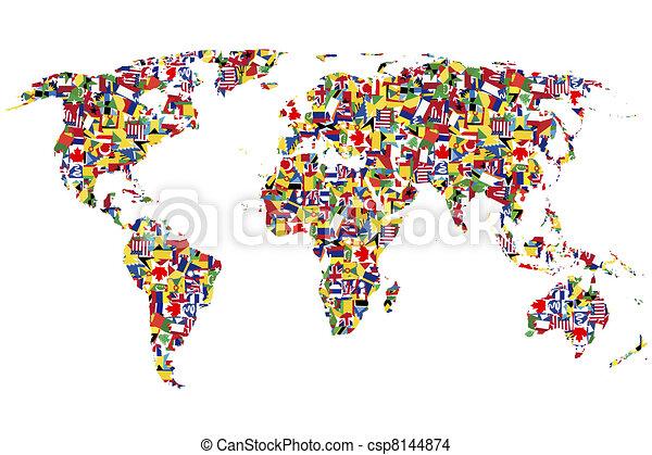 mundo, feito, bandeiras, mapa - csp8144874