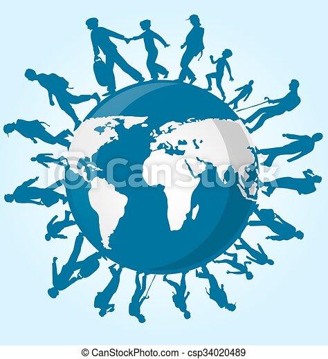 Gente de inmigración en el mapa mundial - csp34020489
